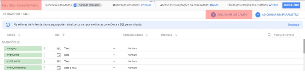 DataStudio Nome e Novo Campo